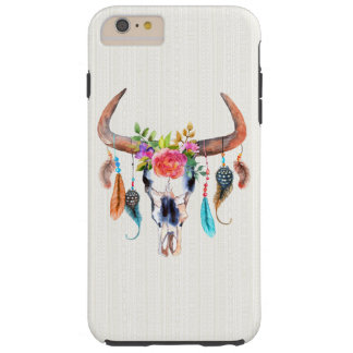 Buffalo Skull With Feather And Flowers Tough iPhone 6 Plus Case