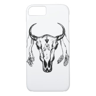 Buffalo Skull With Feathers. Hand Drawn Sketch. iPhone 7 Case