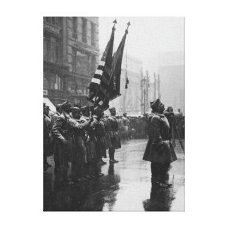 """""""Buffalo"""" Soldiers Returning Colors - 1919 Canvas Print"""