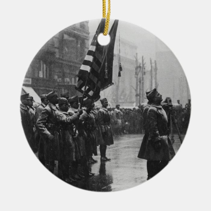 """""""Buffalo"""" Soldiers Returning Colors - 1919 Ceramic Ornament"""