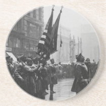 """""""Buffalo"""" Soldiers Returning Colors - 1919 Sandstone Coaster"""