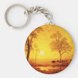 Buffalo Sunset on the Mountain Key Chain