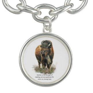 Buffalo totem Inspirational Animal Spirit Guide Charm Bracelets