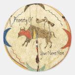 Buffalo Warrior Shield Book Plate Round Sticker
