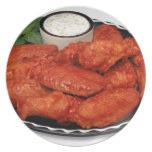 Buffalo wings with blue cheese melamine plate