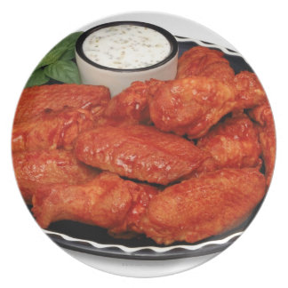 Buffalo wings with blue cheese party plate