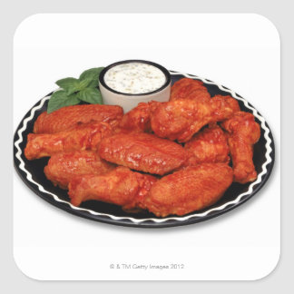 Buffalo wings with blue cheese stickers