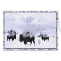 Buffalo Winter Scene Greeting Card