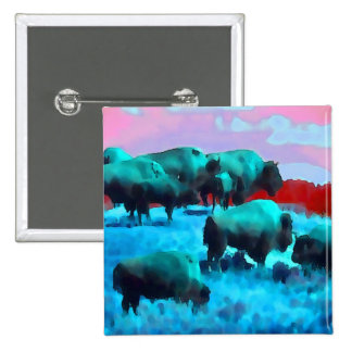 Buffaloes 2 Inch Square Button
