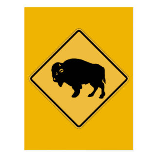 Buffalos Roaming, Traffic Warning Sign, Utah, USA Postcard