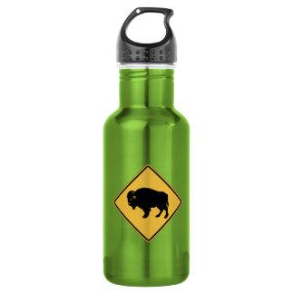 Buffalos Roaming, Traffic Warning Sign, Utah, USA Water Bottle