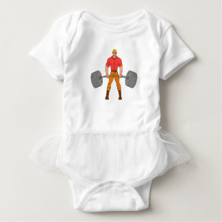 Buffed Lumberjack Lifting Weights Cartoon Baby Bodysuit