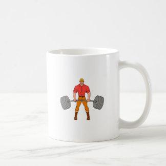 Buffed Lumberjack Lifting Weights Cartoon Coffee Mug