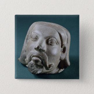 Buffed sandstone head of a foreigner, Sarnath, 3rd Pinback Button