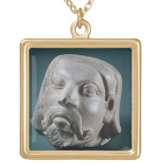 Buffed sandstone head of a foreigner, Sarnath, 3rd Square Pendant Necklace