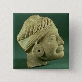 Buffed sandstone turbaned head, Sarnath, 3rd centu Button