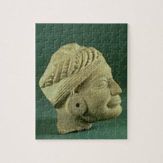 Buffed sandstone turbaned head, Sarnath, 3rd centu Jigsaw Puzzle