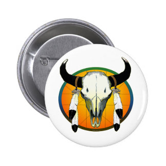 bufflalo skull 2 inch round button