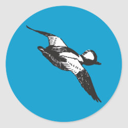 Round Sticker with Bufflehead Sketch design