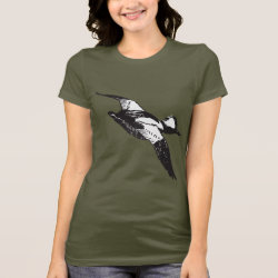 Women's Bella Jersey T-Shirt with Bufflehead Sketch design