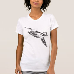 Women's American Apparel Fine Jersey Short Sleeve T-Shirt with Bufflehead Sketch design