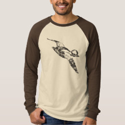 Men's Canvas Long Sleeve Raglan T-Shirt with Bufflehead Sketch design