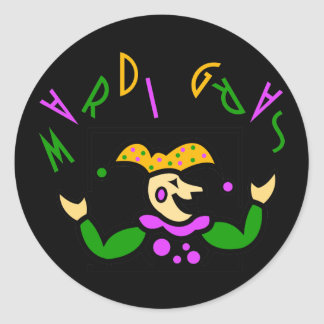 Bufón colorido del carnaval del KRW Pegatina Redonda