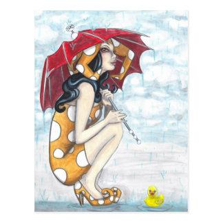 Bufón con el paraguas + Postal Ducky de goma del a