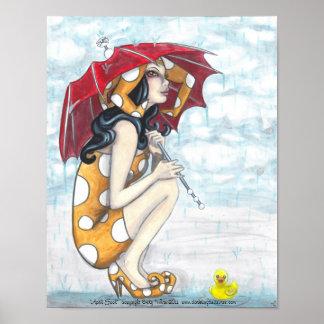Bufón con el paraguas + Posters Ducky de goma del