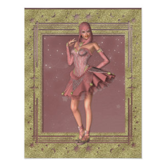 Bufón de la fantasía del KRW en rosa y oro Posters