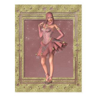 Bufón de la fantasía del KRW en rosa y oro Postal