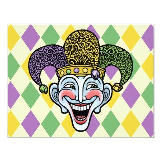 Bufón del carnaval invitación 10,8 x 13,9 cm