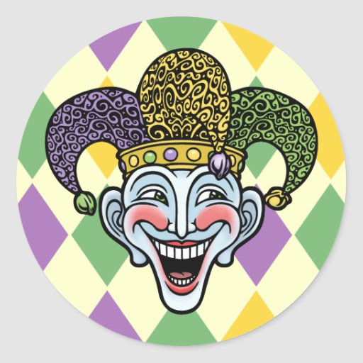 Bufón del carnaval pegatina redonda