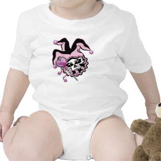 Bufón del cráneo de los corazones traje de bebé