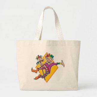 Bufón del dibujo animado bolsa tela grande