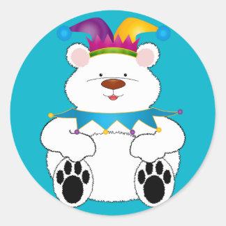 Bufón del oso polar pegatina redonda