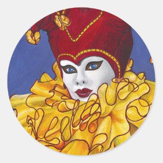 Bufón rojo y amarillo del carnaval pegatinas