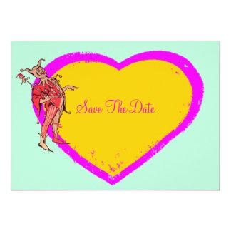 Bufón y corazón coloridos invitacion personalizada