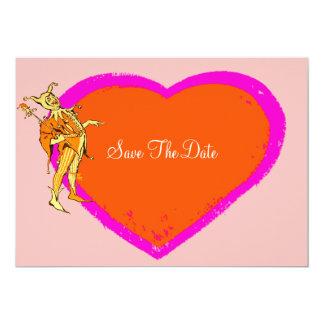 Bufón y corazón coloridos invitación