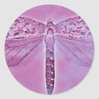 Bug Collection - Purple Dragonfly Classic Round Sticker