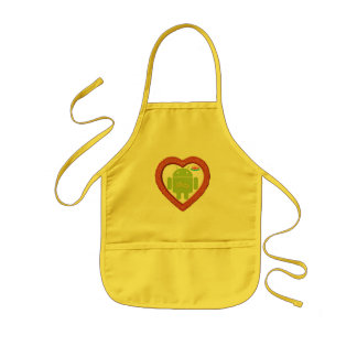 Bug Droid Heart Love Two Gold Rings Pink Cake Aprons