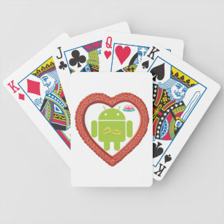 Bug Droid Heart (Love) Two Gold Rings Pink Cake Bicycle Playing Cards