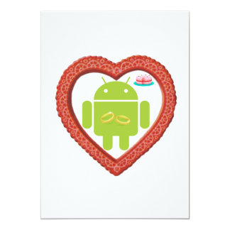 Bug Droid Heart (Love) Two Gold Rings Pink Cake Card