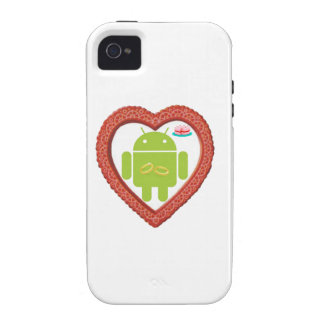 Bug Droid Heart (Love) Two Gold Rings Pink Cake Case-Mate iPhone 4 Covers