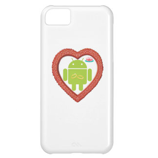 Bug Droid Heart (Love) Two Gold Rings Pink Cake iPhone 5C Covers