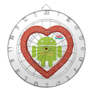 Bug Droid Heart Love Two Gold Rings Pink Cake Dartboards