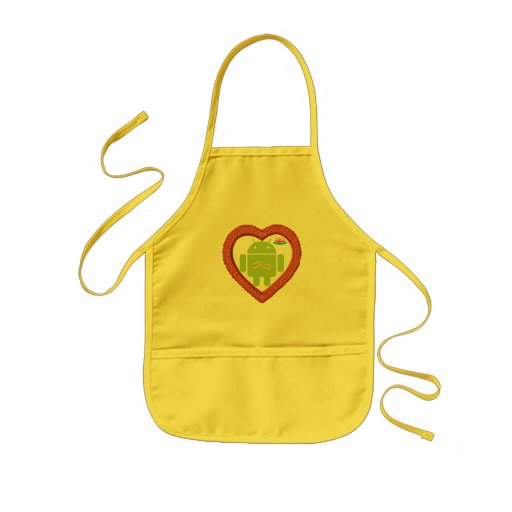 Bug Droid Heart (Love) Two Gold Rings Pink Cake Kids' Apron