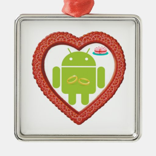 Bug Droid Heart (Love) Two Gold Rings Pink Cake Square Metal Christmas Ornament