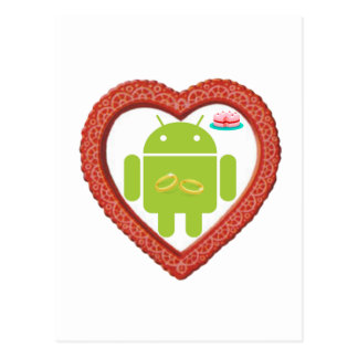Bug Droid Heart (Love) Two Gold Rings Pink Cake Postcard