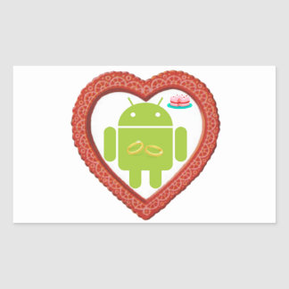 Bug Droid Heart (Love) Two Gold Rings Pink Cake Rectangular Sticker